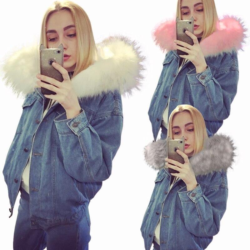 2018 новая теплая зимняя джинсовая куртка куртка бомбер Для женщин Демисезонная куртка с капюшоном джинсы Джинсовые куртки основные дамы один размер ветровка Женский Большой ветровка женская