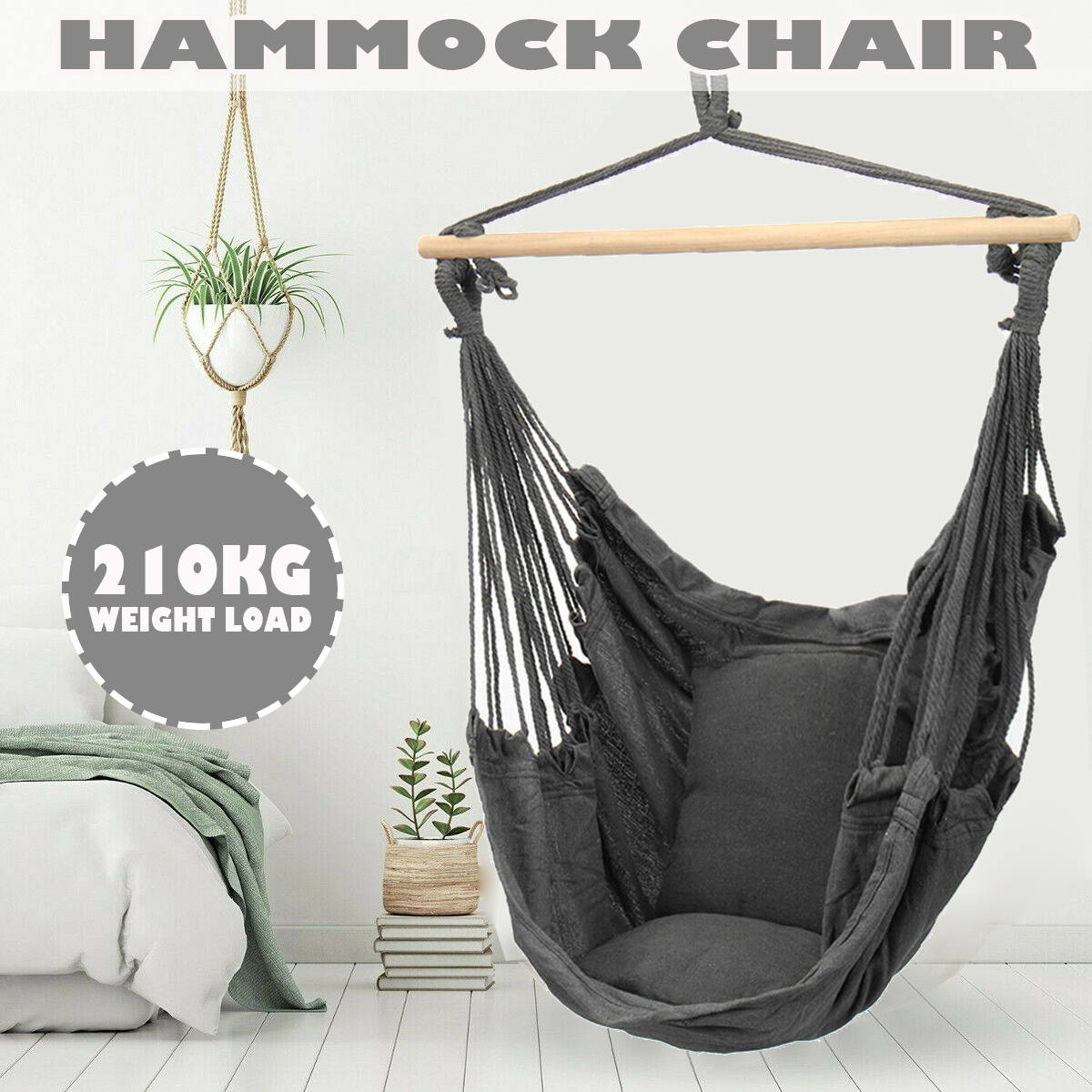 210kg Hammock Chair Outdoor Indoor Dormitory Bedroom Yard For Child Adult Swinging Hanging Single Safety Chair Hammock