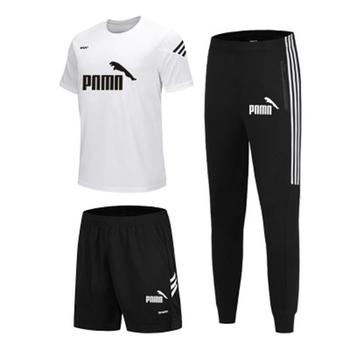 3 Pieces/Set Sports T-shirt Mens Suit Running Shorts + Jogging Pants Sportswear Football Gym New