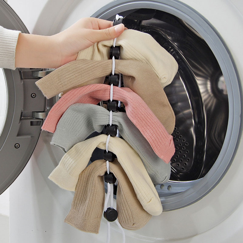 1 PCS Sock Storage Bag Adjustable Non-slip Lanyard Hook Clip Socks Socks Cleaning Aids Drying Rack Clothes Line