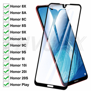 9D Protective Glass For Huawei Honor 8A 8C 8S 8X Tempered Screen Protector Honor 9A 9C 9S 9X 9i 10i 20i 20S Play Glass Film Case