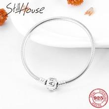 2018 Fashion Charm Bracelet 100% 925 Sterling Silver Snake Chain Bracelets Bangle Womens accessories trendy 2018 DIY Jewelry