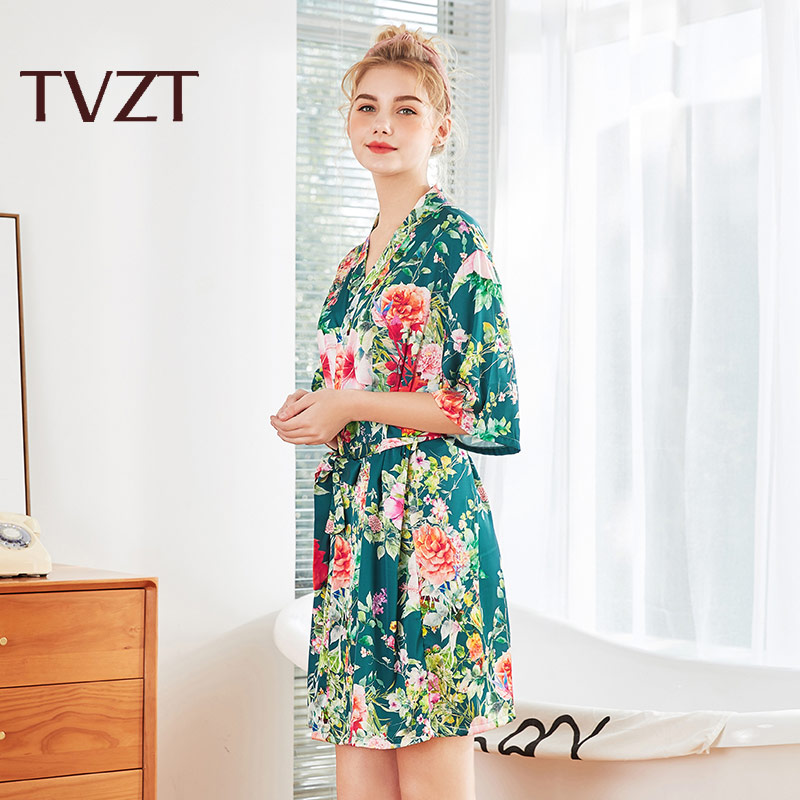 Tvzt 2020 New Pajamas Women Elegant Spring And Summer Home Service Women Printed Flowers Comfortable Wide-sleeved Pajamas