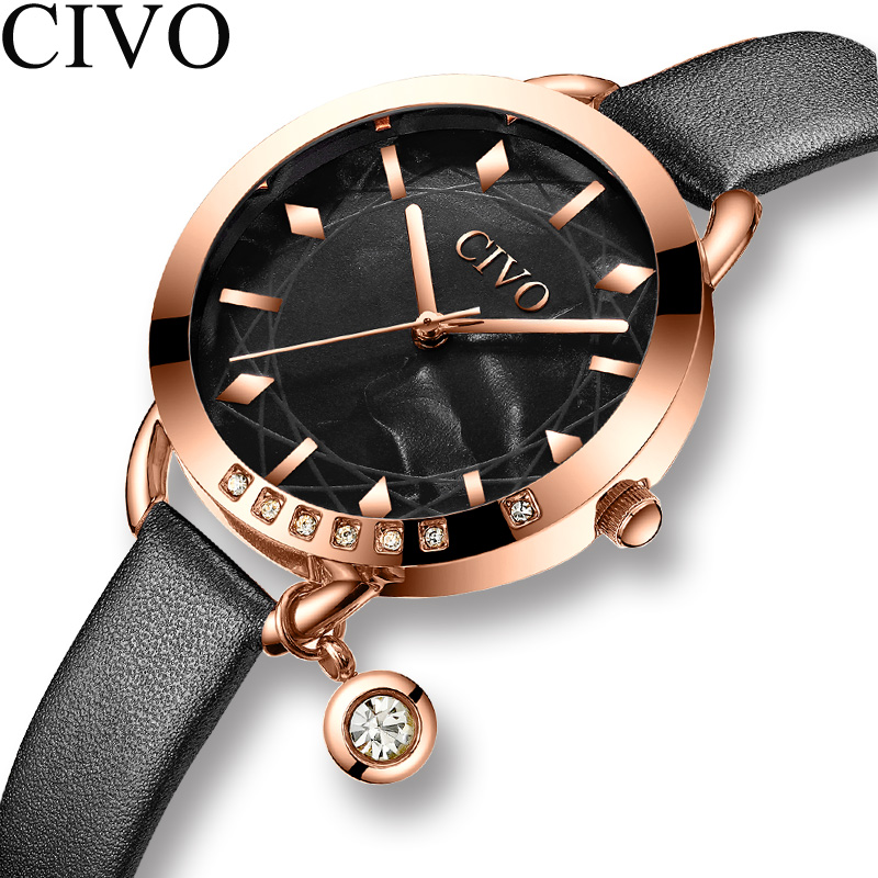CIVO Fashion Watch Women Waterproof Quartz Watch Ladies Top Brand Luxury Female Watch Girl Leather Strap Clock Relogio Feminino