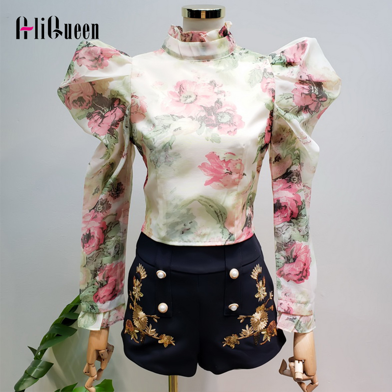 2020 Spring Summer Women Vintage Floral Print Long Puff Sleeve Stand Neck Chiffon Shirts Elegant Female Top Crop Blouses Blusas