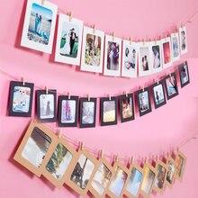 10PCS Cornice di Carta con Pinze FAI DA TE Titolare Foto di Kraft di Carta Corda Appeso A Parete Cornice In Legno Foto Album Muro decorazione