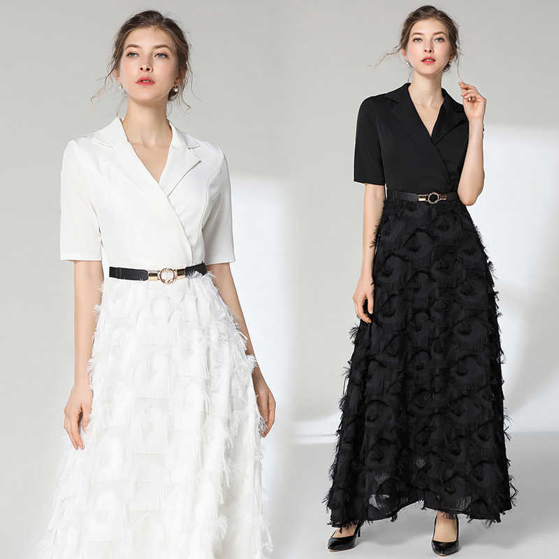 Elegan Hitam Panjang Gaun Eropa Besar Pendulum Mencetak Gaun Pesta Acara Tipis Rumbai Gaun Lengan Pendek Solid Panjang Pola Gaun