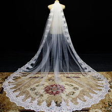 Mantilla Lace Wedding Veil Sparkling Sequins Lace Long Bridal Veil with Comb White Ivory 3 Meters Bride Veil Wedding Accessories