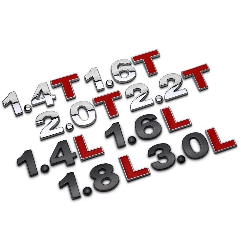 Good Quality Metal 3D 1.4 1.5 1.6 1.8 2.0 2.2 2.4 2.5 2.8 3.0 T L Logo Car Sticker Rear Trunk Emblem Tail Badge Displacement