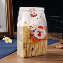 50Pcs Merry Christmas Cartoon Santa Snowman Tree Printed Candy Bags Gift Packaging Storage  Plastic Bag Cookie