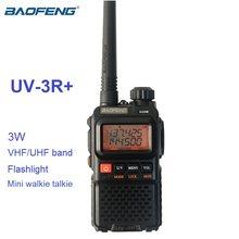 Mini walkie talkie baofeng cb, rádio comunicador móvel, banda dupla, uv3r, plus, UV-3R + estação de rádio