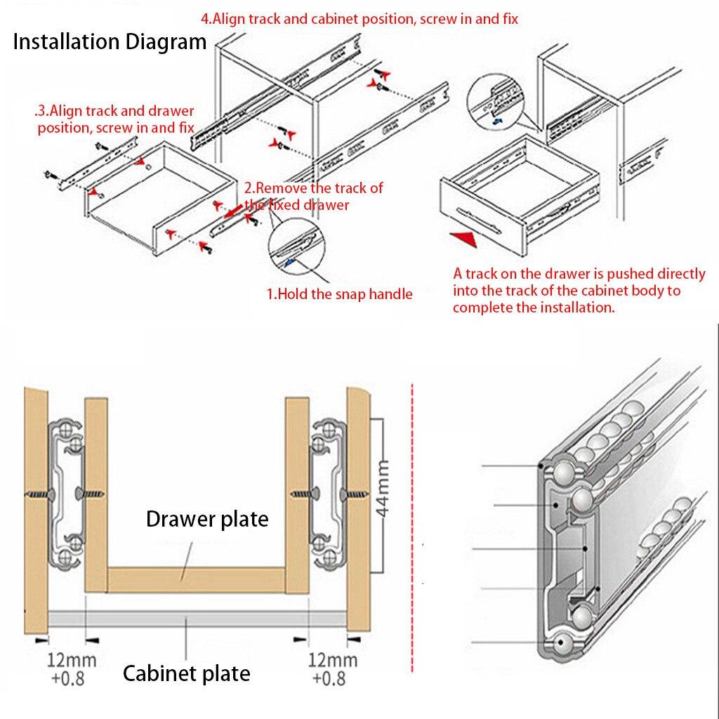 Новая дверная защелка для шкафа с открытым наконечником, смазывающая направляющая из нержавеющей стали для домашнего ящика, бесшумная направляющая для ящика