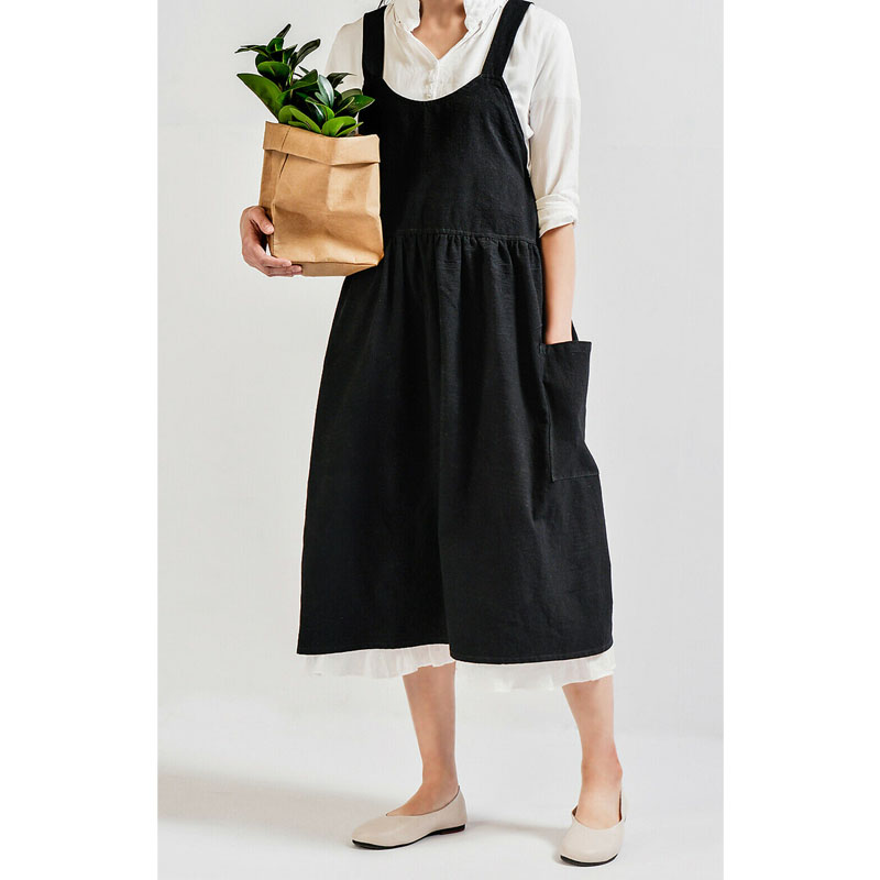 Women Cotton Linen Bib Apron Japanese Style Sleeveless Pinafore Home Kitchen Coffee Cooking Florist Aprons Dress