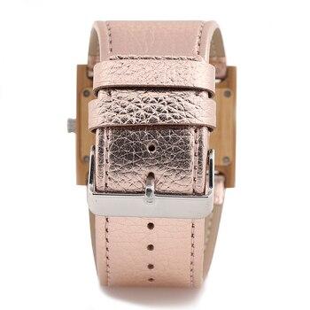 BOBO VOGEL Dames Brede Band Horloge Rechthoek Bamboe Hout Vrouwen Jurk Horloge Reloje Mujer In Geschenkdoos Zegarek Damski V-N21