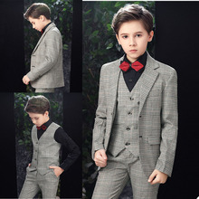 Winter Thick Plaid Check Boys Pants Suits 3 Pieces Tuxedos for Wedding Dinner Children Kids Jacket Blazer (jacket+vest+pants)