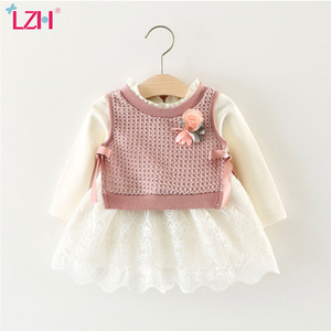 LZH 2020 Autumn Winter Cute Baby girls dress Knitt jacket+dress 2pcs set Toddler Baby Newborn Cotton Princess dress 0 1 2 3 Year(China)