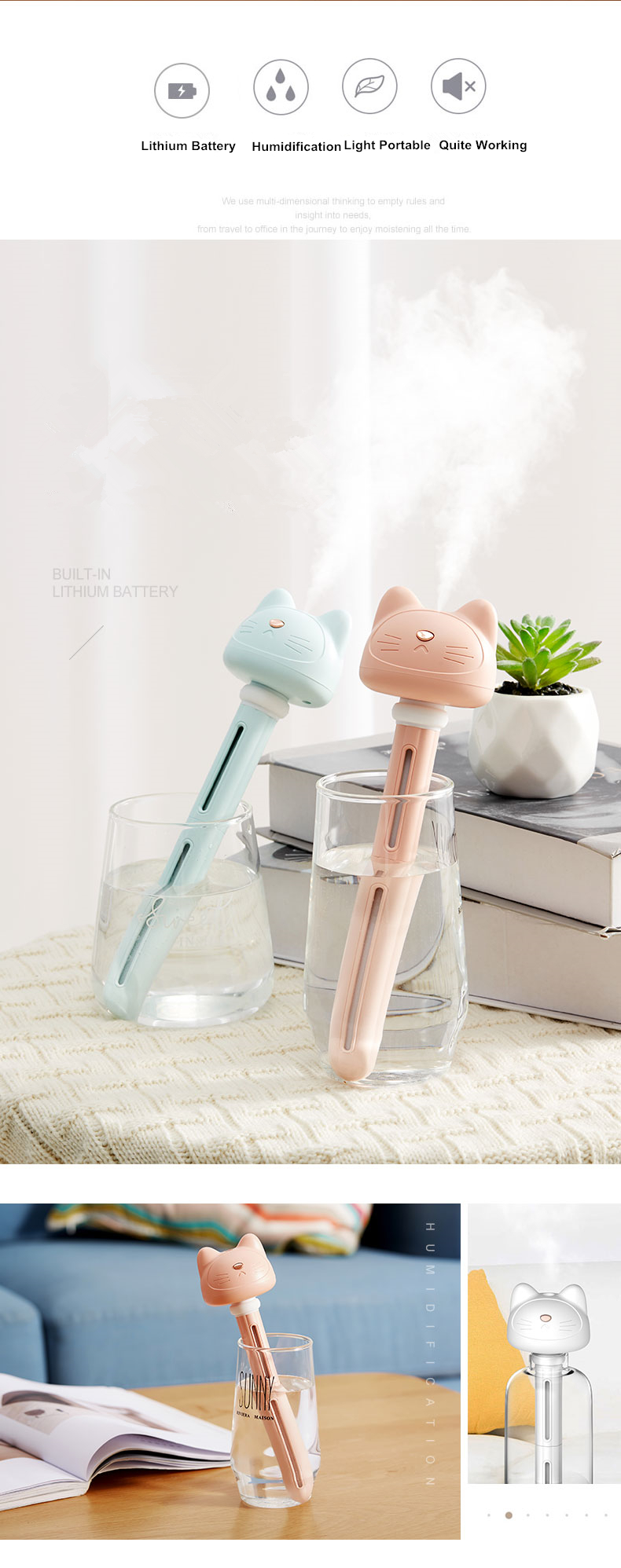 Portable Mini Cat Humidifier Detachable Adorable Cat USB Aroma