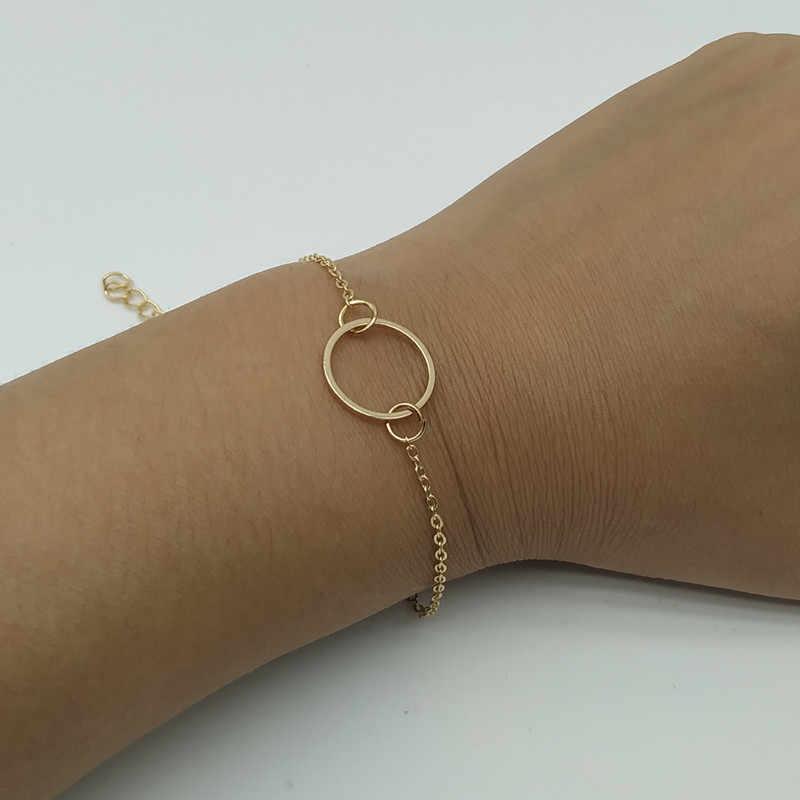 2 יח'\חבילה חדש פשוט קסם צמיד צמיד זהב כסף צבע זעיר אהבת לב צמיד סט תכשיטים Dropshipping