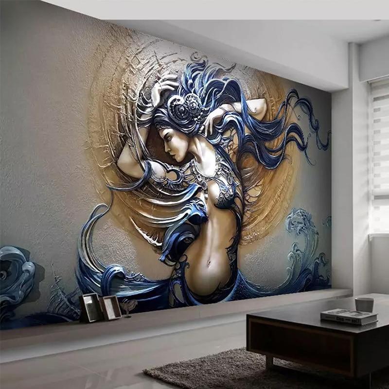 Пользовательские самоклеющиеся водонепроницаемые Настенные обои 3D рельефная фигура скульптура искусство фото настенная живопись 3D съемн...