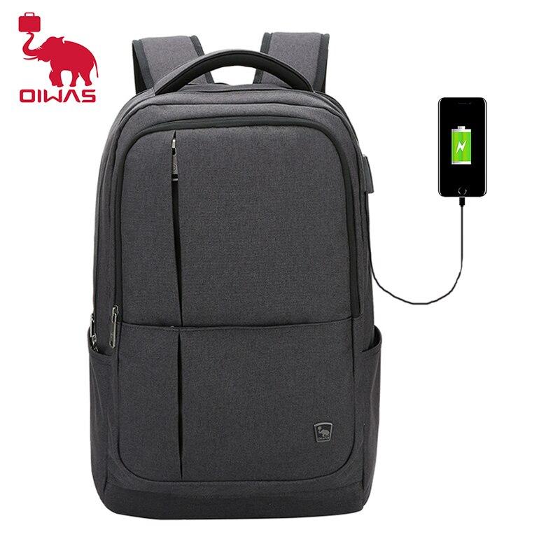 Oiwas 17 Cal plecak na laptopa z ładowaniem USB plecaki męskie o dużej pojemności Business Daypack Bookbag dla kobiet Teenage Travel