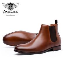 DESAI Dress Summer Platform Boots Men Genuine Leather Shoes+Male 2020 Outdoor Hiking Fashion Casual Italian