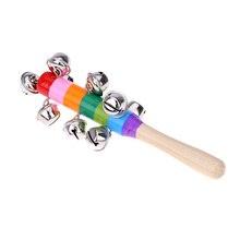 Маленькая ручная палочка с колокольчиком деревянная с 10 металлическими Jingles шариками красочная Радужная ударная музыкальная игрушка для KTV вечерние детские игры