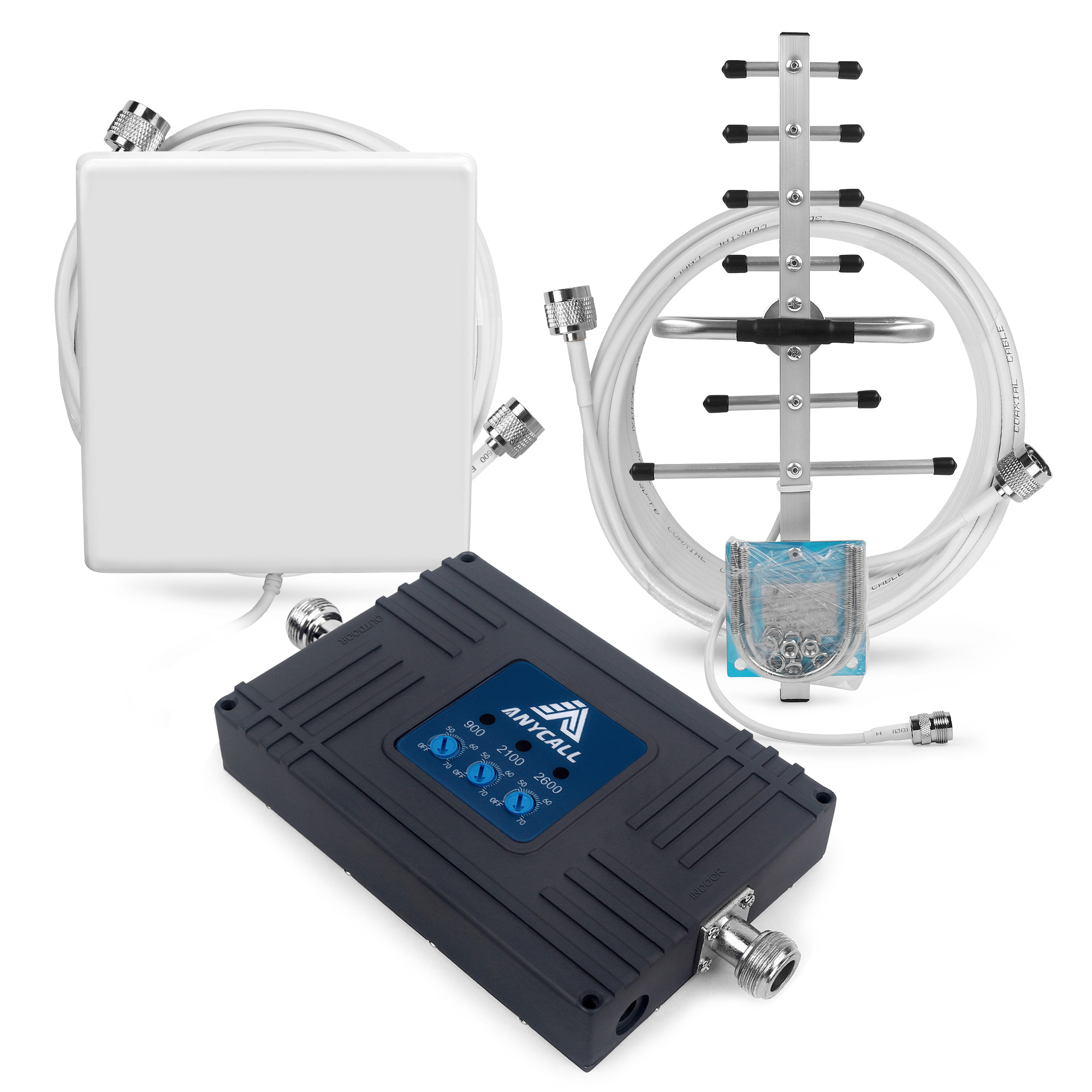 Mobile Amplifier 2G 3G 4G Cellular Signal Booster GSM LTE 900/2100/2600 MHz Band 8/1/7 Cell Phone Signal Repeater For Voice/Data