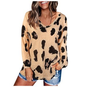40#Women's Fashion Casual Leopard Print V Neck Long Sleeve Loose Shirts Autumn Sexy Elegant Tops Daily Brief Pullover Blouses