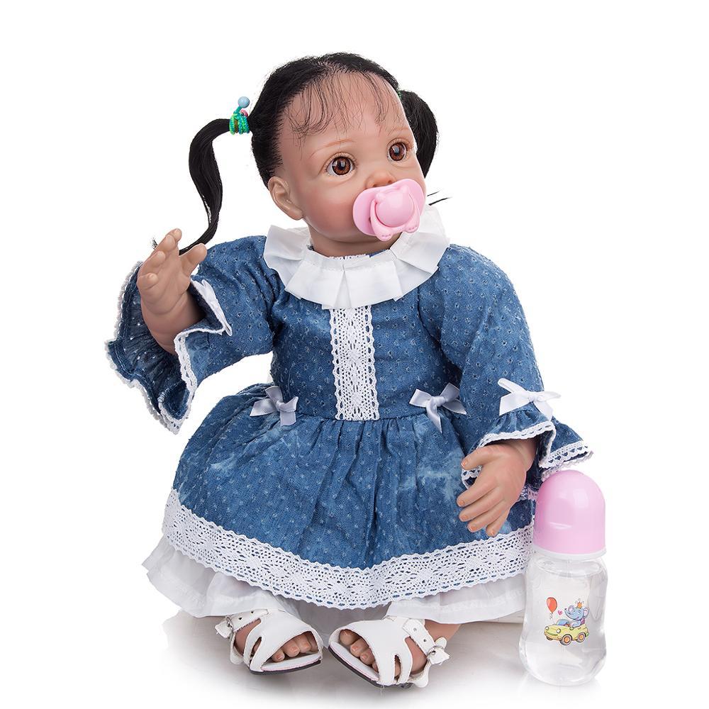 Кукла реборн 22 дюйма в этническом стиле мягкая виниловая младенец