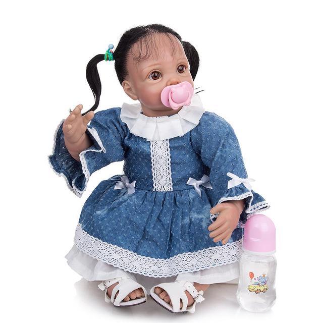 Фото кукла реборн 22 дюйма в этническом стиле мягкая виниловая младенец