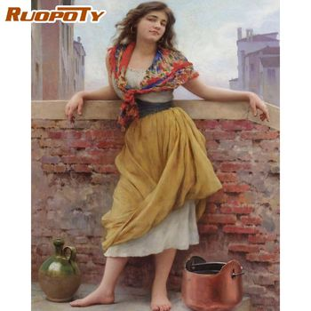RUOPOTY 40x50cm Oil Paints By Numbers For Adults Children DIY Framed Woman Figure Picture HandPainted Acrylic Draw Canvas Art