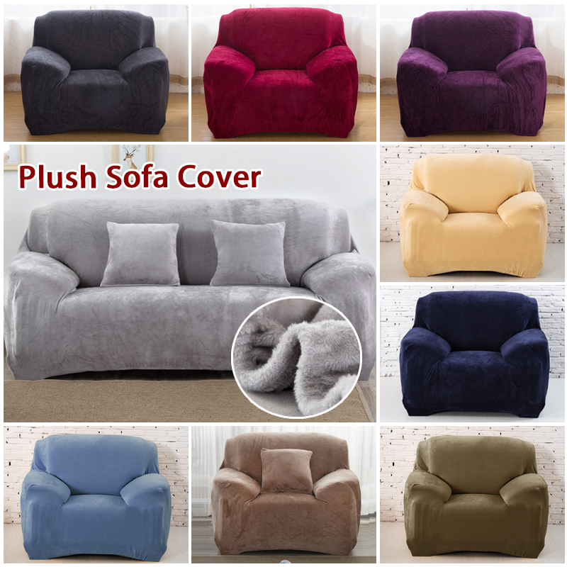 Thick Plush Elastic Sofa Cover Cotton Solid Color Sectional Slipcover Stretch Anti dirty Couch Cover Sofa