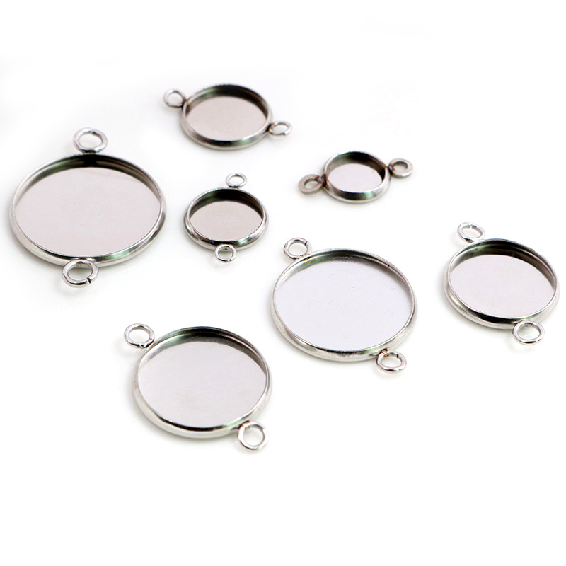 Stainless Steel Material 8-20mm Inner Size Two Loops Style Cabochon Base Cameo Setting Charms Pendant Tray