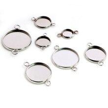 Material de aço inoxidável 8-20mm tamanho interno dois loops estilo cabochão base cameo ajuste encantos pingente bandeja