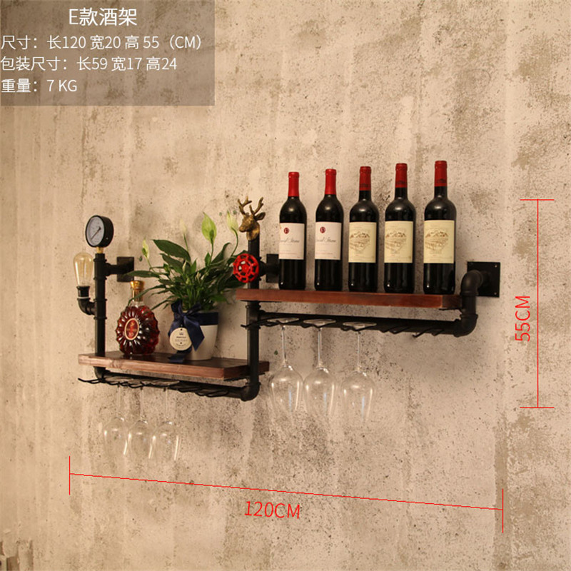 Retro Design Mimimalist Glassware Organizer For Storage Display Elegant House Decor Metal & Wood Wine Rack Wall  Bottle Holder