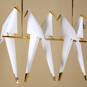 Modern Nordic Paper Crane Pendant Lights Bird Iron Wall Lamp Bedside Lamp for Loft Bedroom Living Room Restaurant Pendant Lamps 1pc iron glass pendant lights retro living room restaurant corridor balcony garden personality pendant lamps za