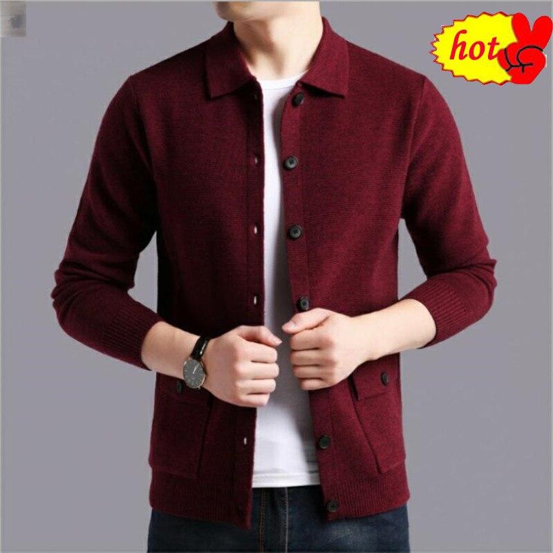 Streetwear Sweater Men Fashion Sweater Coat Men Autumn Winter Warm Cashmere Woolen Cardigan Men With Pocket