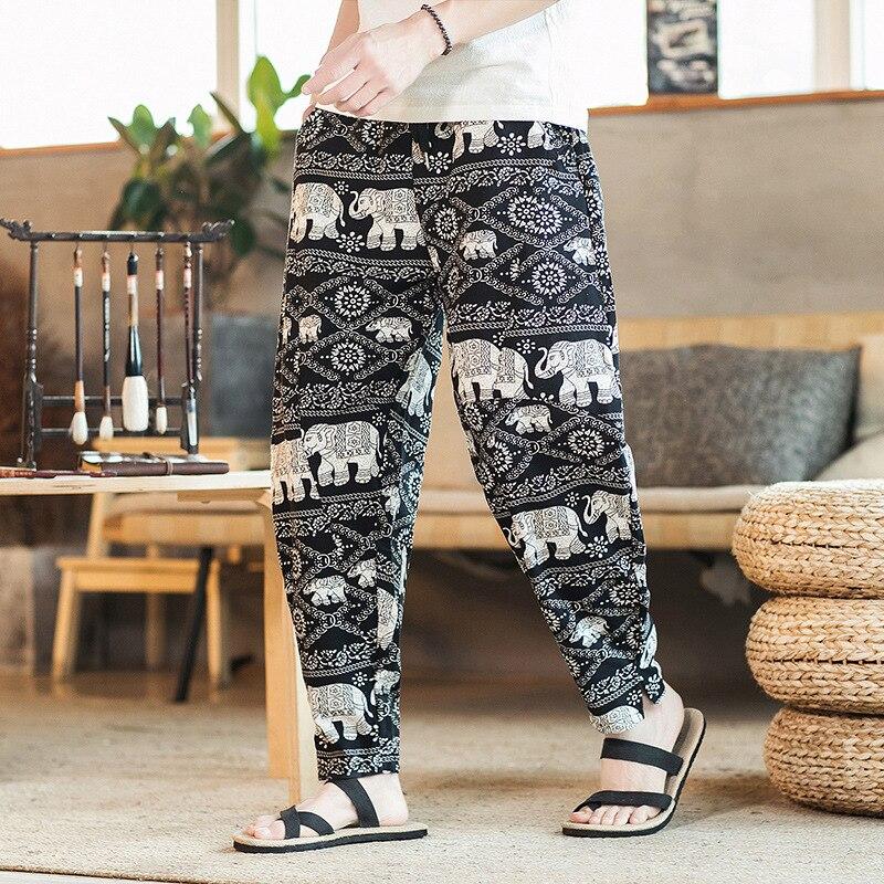 2019 Ethnic-Style Flower Type Cotton Linen Casual Pants Men Loose-Fit Floral-Print Large Size White Elephant Printed Harem Long