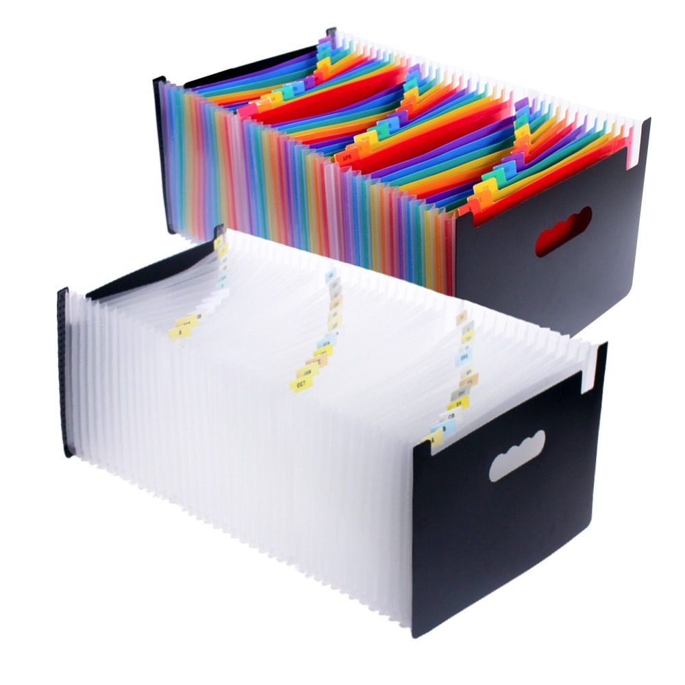 13/24/37 Pockets Expanding File Folder A4 Large Plastic Expandable File Organizers Standing Accordions Folder Carpeta Archivador