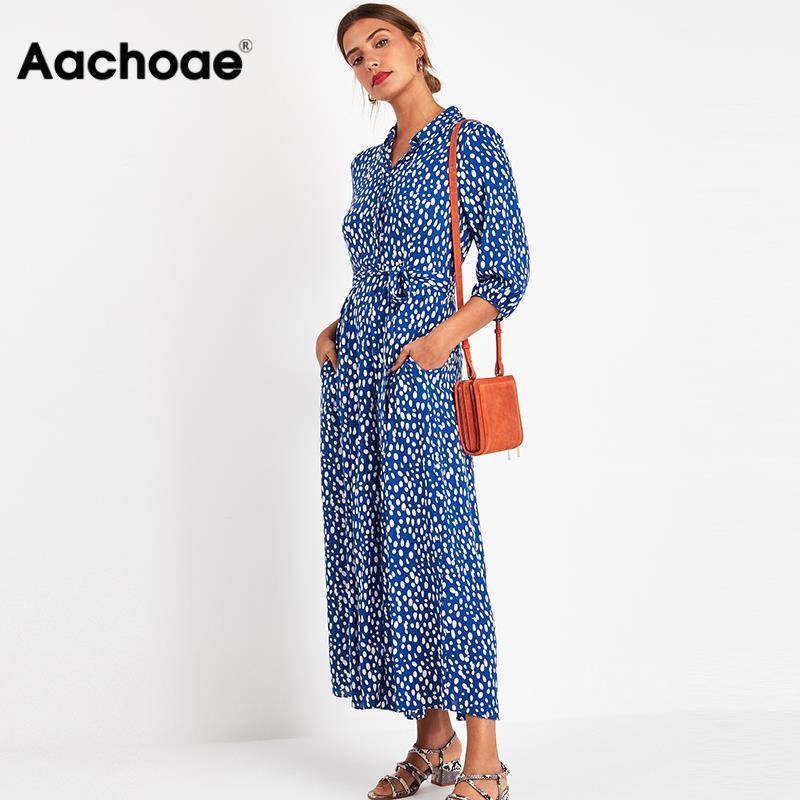 2020 Women Elegant Long Printed Dresses Three Quarter Sleeve Bohemian Maxi Dress Turn Down Collar Shirt Dress Vestidos Mujer