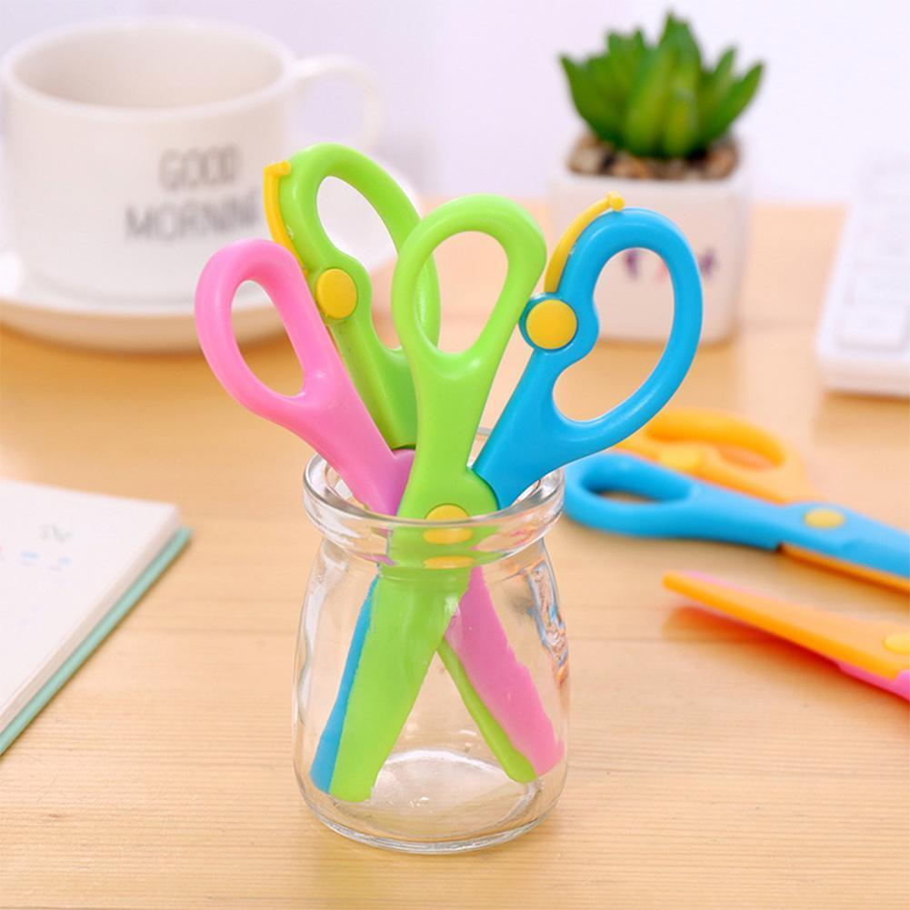 Children's Safety Plastic Scissors Creative Elastic Students Diy Small Paper Cutting Scissors Head Round With Cutting Paper J3Y1