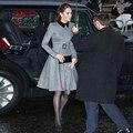Кейт Миддлтон высокое качество осень-зима новые женские туфли на плоской подошве черного цвета ОТВОРОТОМ строчка, элегантное платье, плать...