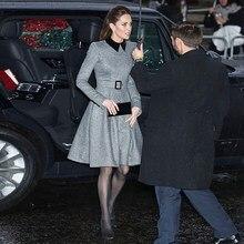 Kate middleton alta qualidade outono inverno nova mulher lapela preta costura cinto elegante magro festa vestido de moda
