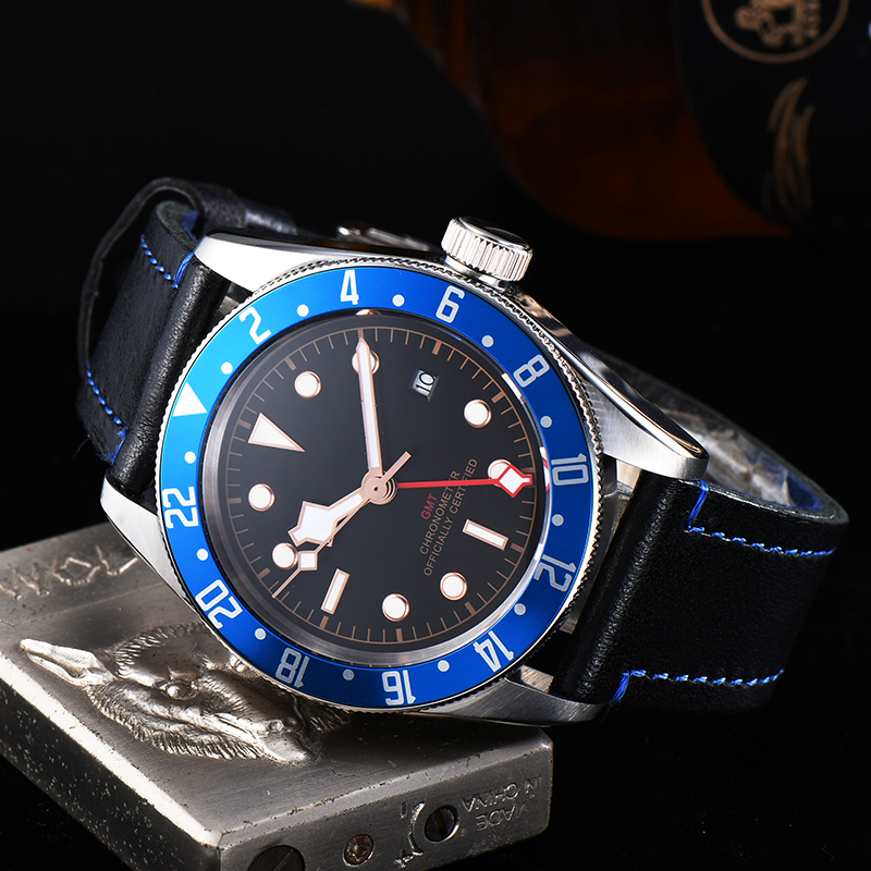 watch men automatic mechanical watch date 316L Solid stainless steel Luminous waterproof Leather 41MM KGT100