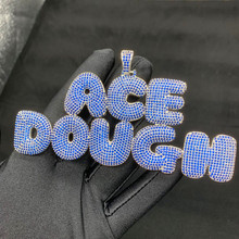 Custom Name Bubble Letters Iced Out Pendant Chain Gold Silver Bling Zirconia Mens Hip Hop  Jewelry with 4mm Tennis Chain