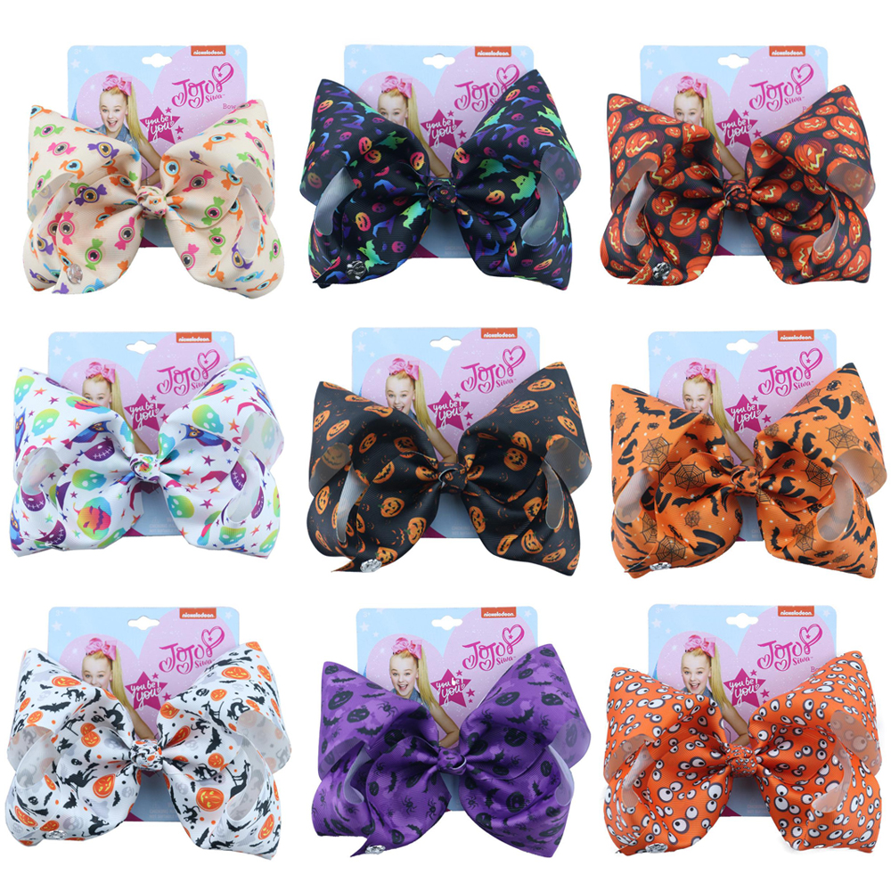 Halloween 7 Inch Large Hair Bows For Girls With Clips Pumpkin Printed Ribbon Bowknot Handmade Party Hairgrips For Kids JOJO Bows