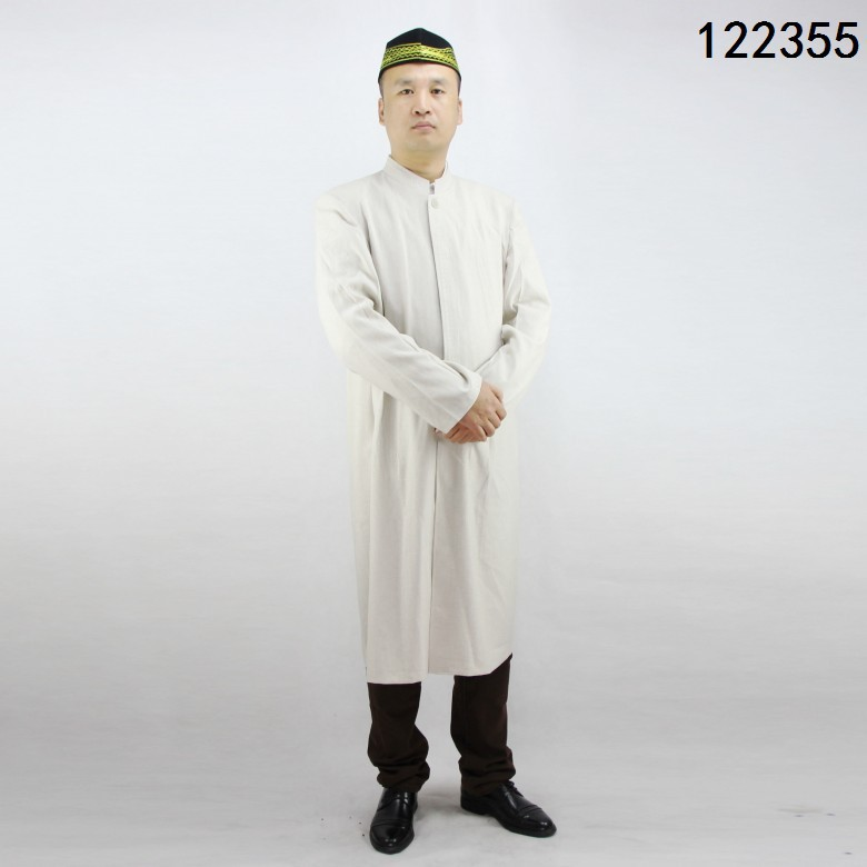 Stand Collar Cotton Linen Mid-length Open Front Muslim Men'S Wear Robe Clothes For Worship Service/