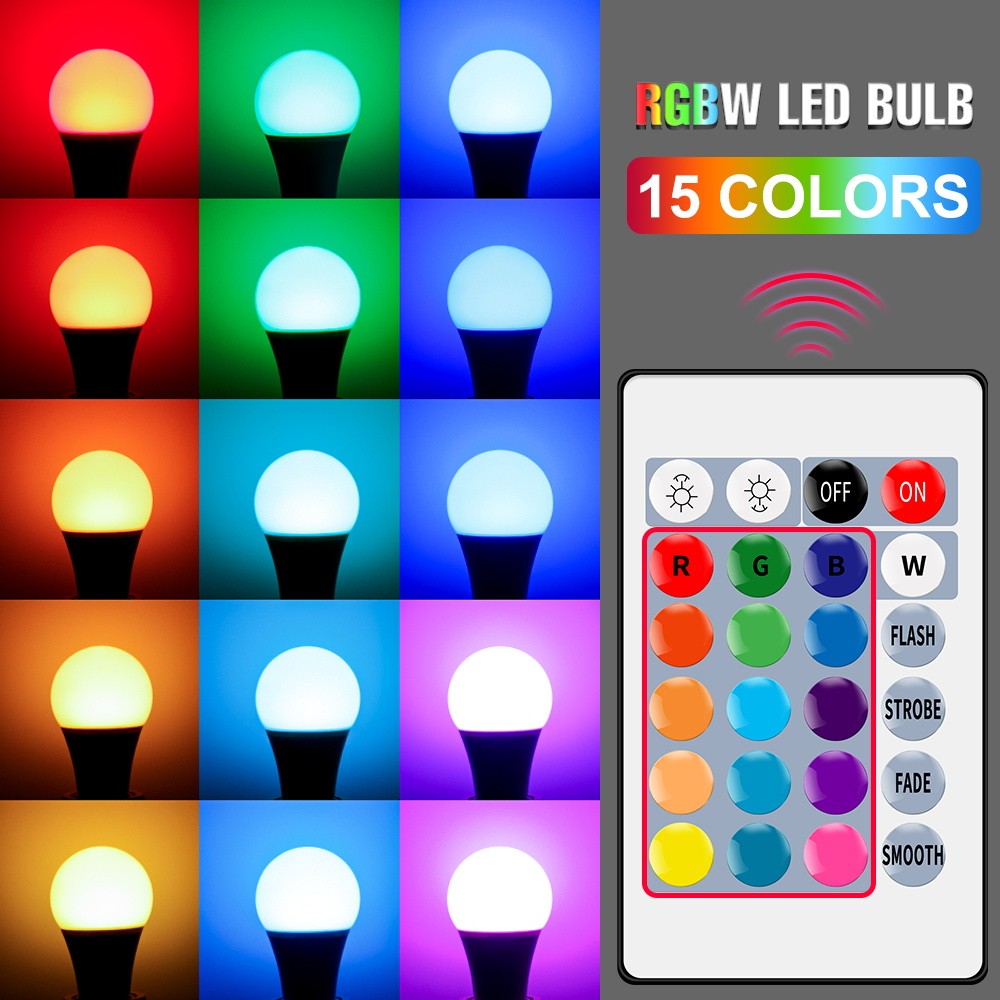 E27 Smart Control Lamp Led RGB Light Dimmable 5W 10W 15W RGBW Led Lamp Colorful Changing Bulb Led Lampada RGBW White Decor Home 2