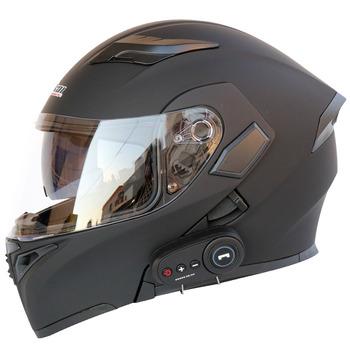 Kask motocyklowy kask motocyklowy z bluetooth pojazd elektryczny kask 1200 mAh żywotność baterii tanie i dobre opinie kuqibao Flip Kask Unisex Ece-r22 05 Kaski