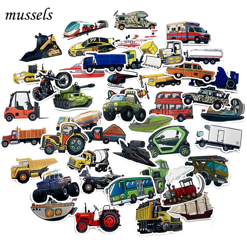 50Pcs Aircraft Car Tank Tractor Engineering Vehicle DecorationStickerForWindow Glass Bookbag Toy Scapbook Luggage Nagel Stickers